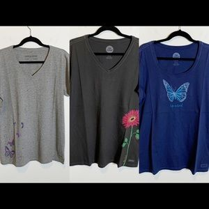 Lot of 3 Life is Good Crusher T-Shirts Butterfly